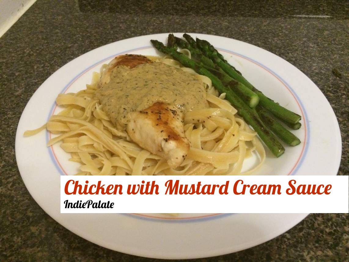 Skillet Chicken with Mustard Cream Sauce and Asparagus