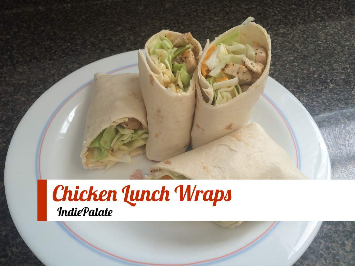 chicken lunch wraps on a plate