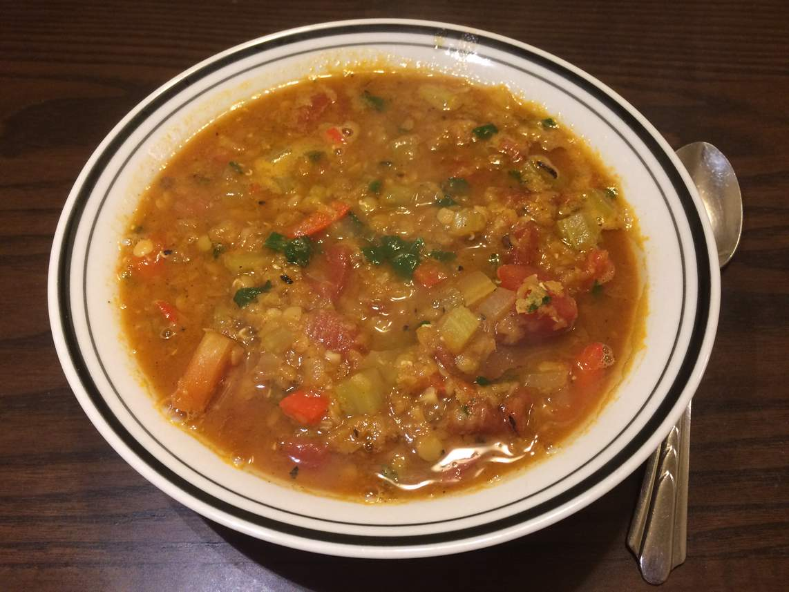 Mexican lentil stew in a bowl