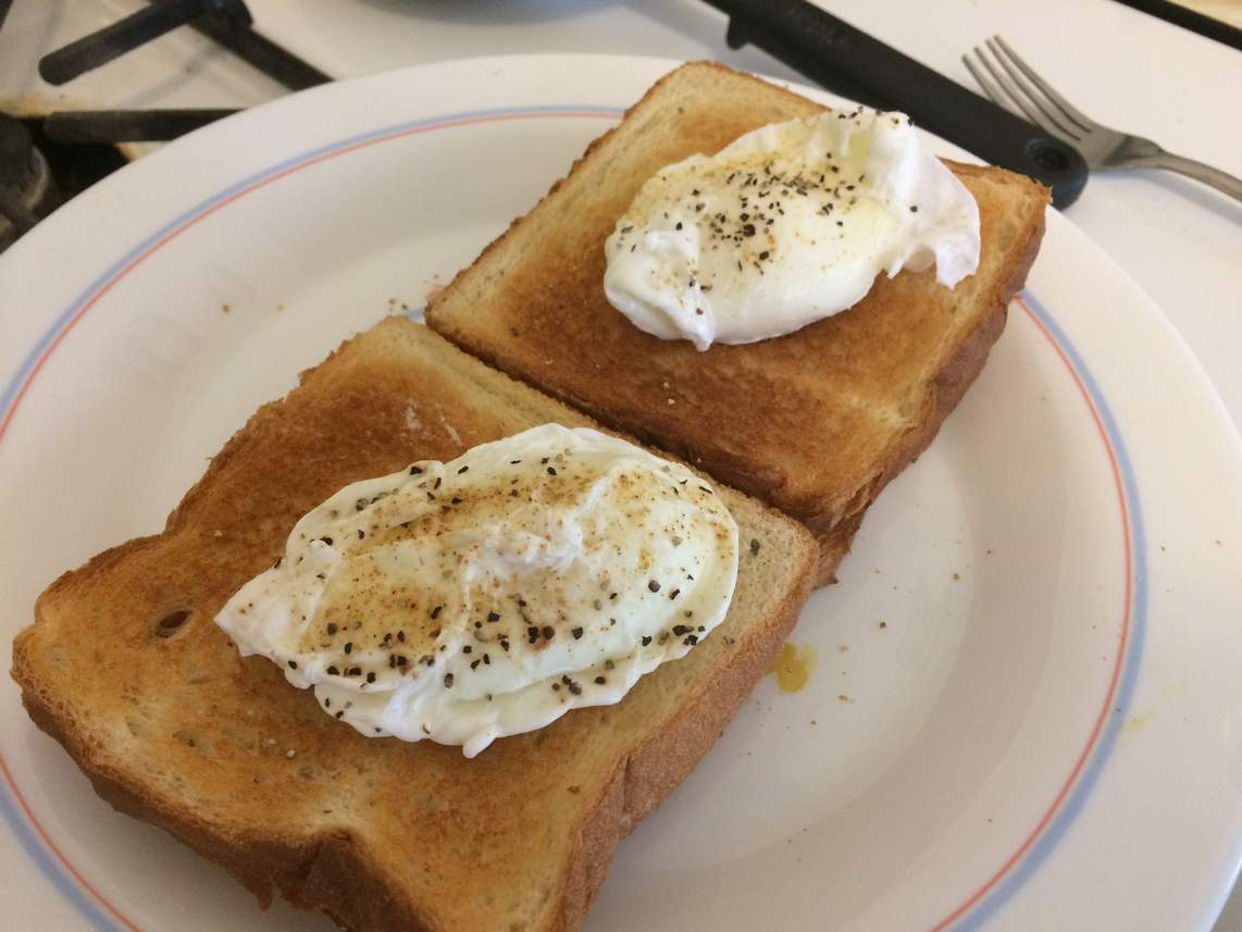 Poached eggs on toast on a plate